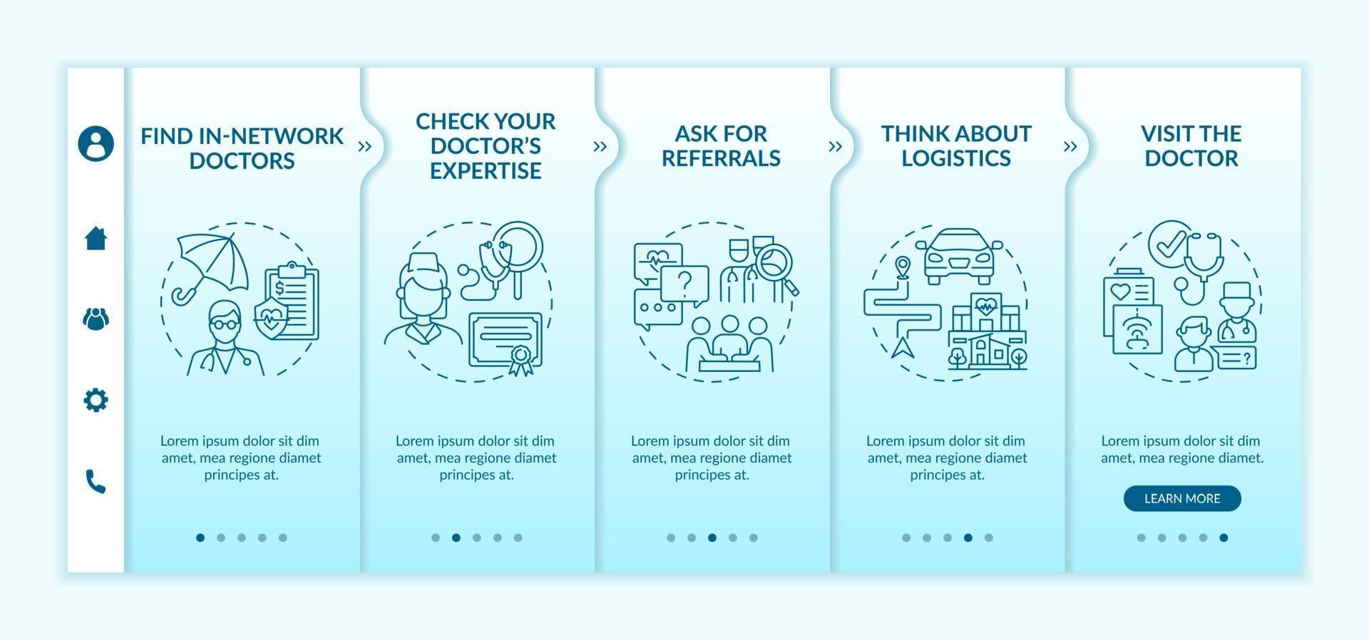 kiezen voor huisarts tips onboarding vector sjabloon