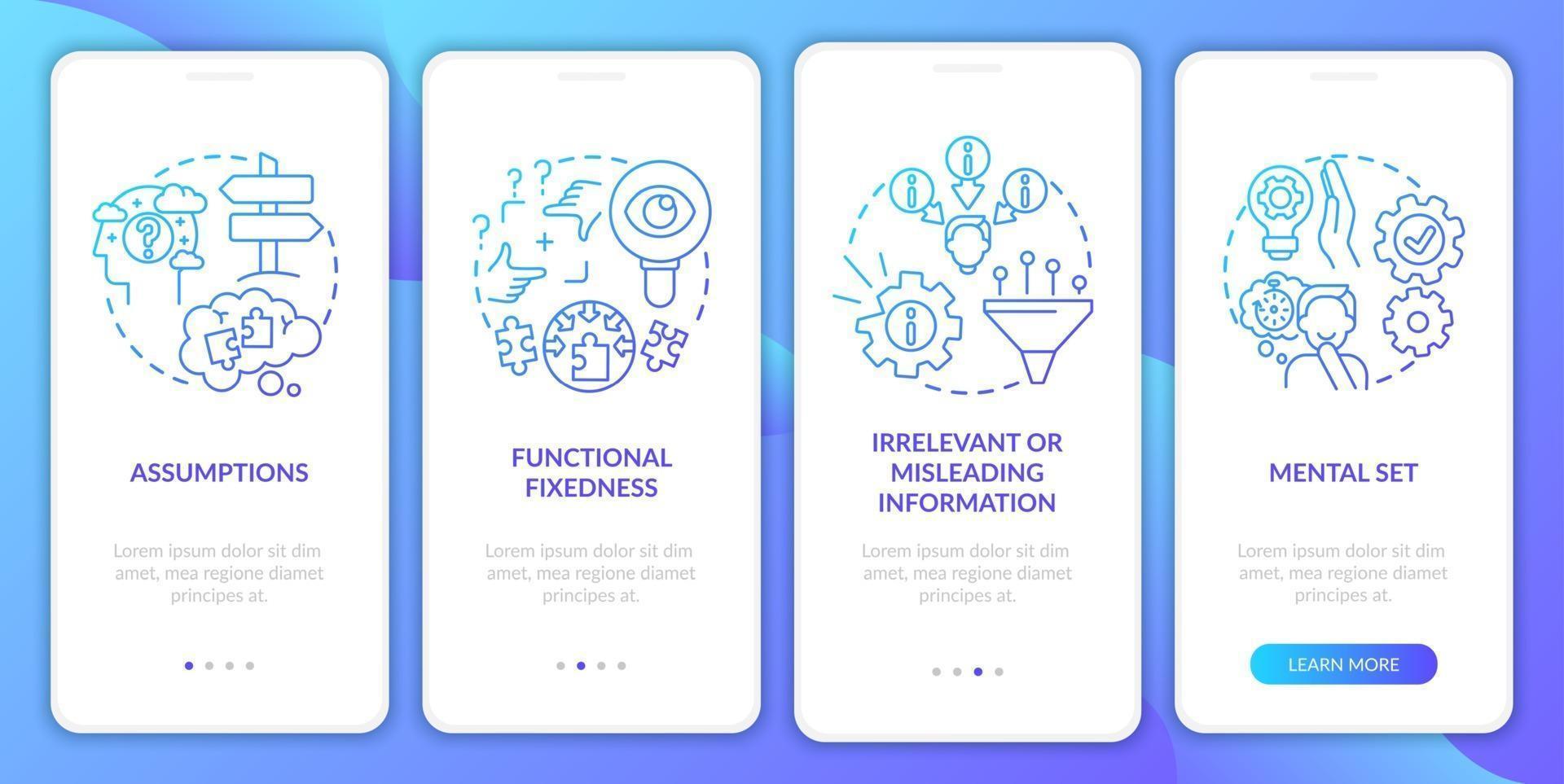 probleemoplossende obstakels marine onboarding mobiele app-paginascherm met concepten vector