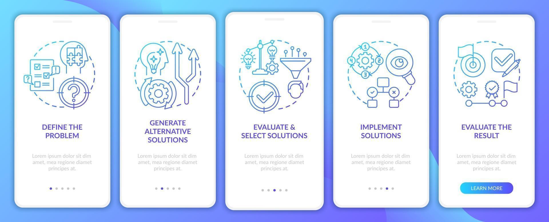 probleemoplossende stappen marine onboarding mobiele app-paginascherm met concepten vector