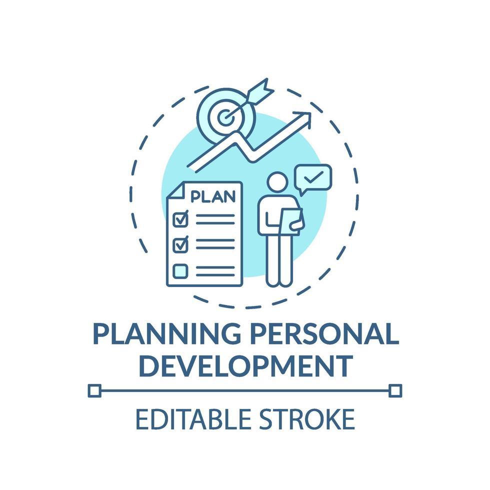 planning van persoonlijke ontwikkeling turkoois concept pictogram vector
