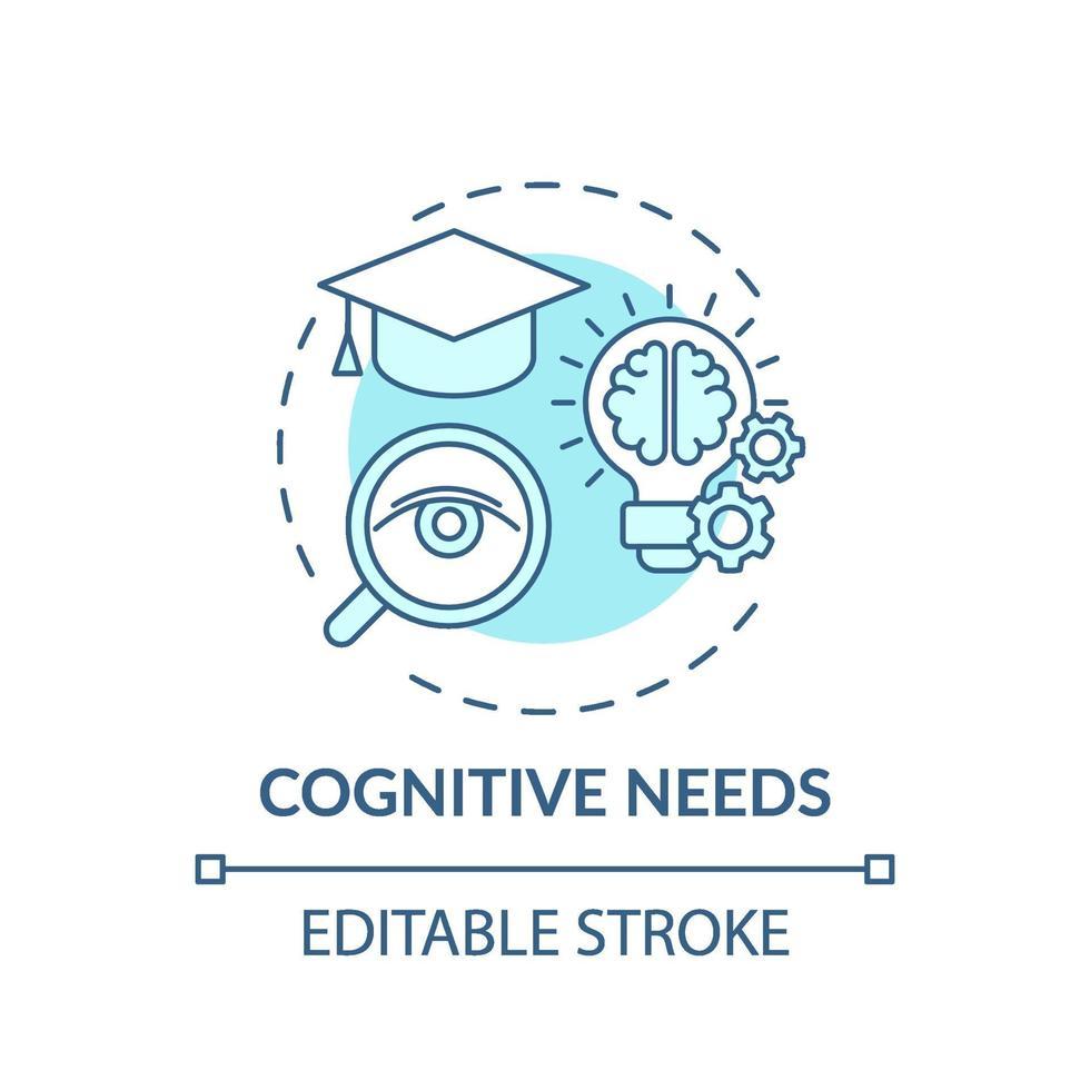 cognitieve behoeften turkoois concept pictogram vector
