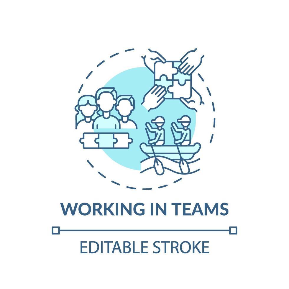 werken in teams turkoois concept pictogram vector