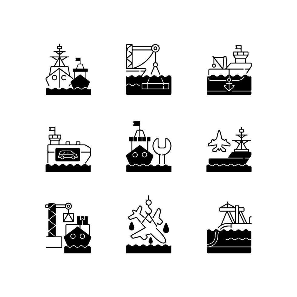 scheepvaart zwarte lineaire pictogrammen instellen vector