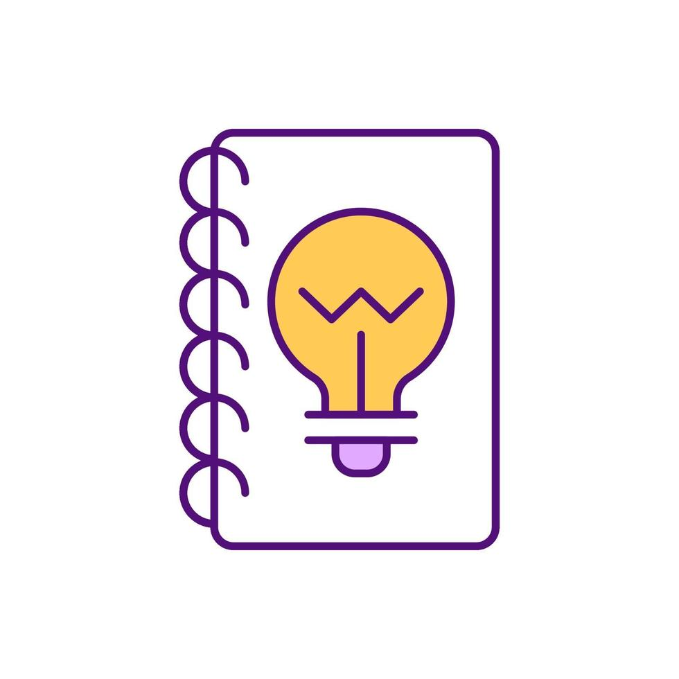 idee dagboek RGB-kleur pictogram vector