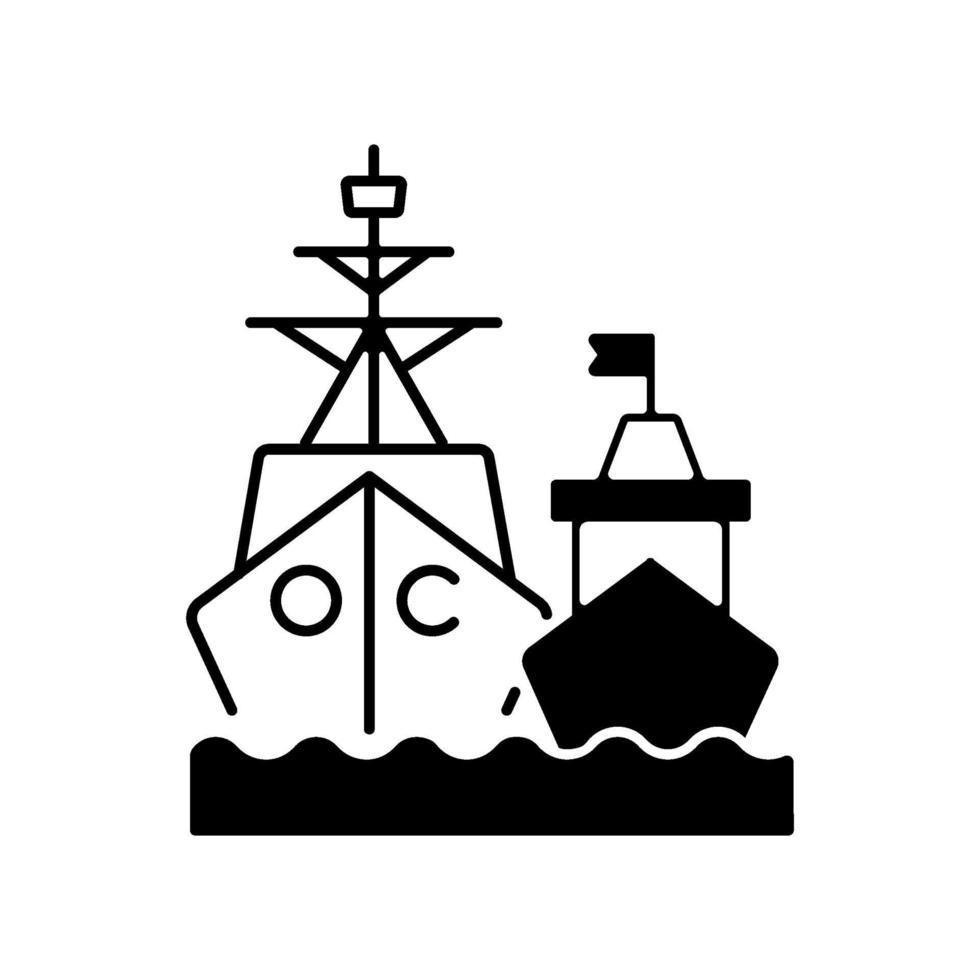 marinevloot zwart lineair pictogram vector
