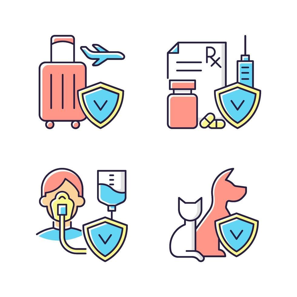 verzekering en bescherming RGB-kleur iconen set vector