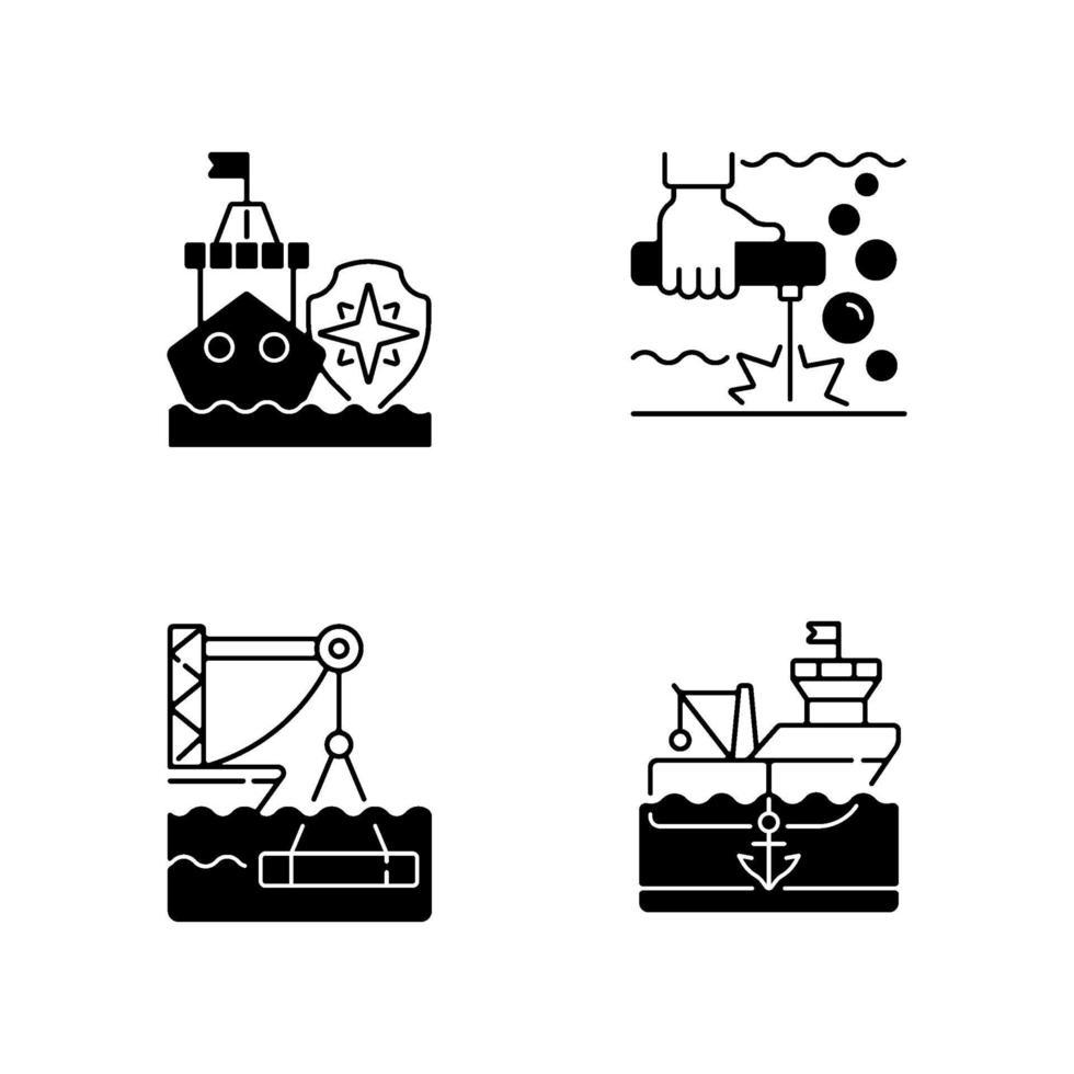 maritieme industrie zwarte lineaire pictogrammen instellen vector
