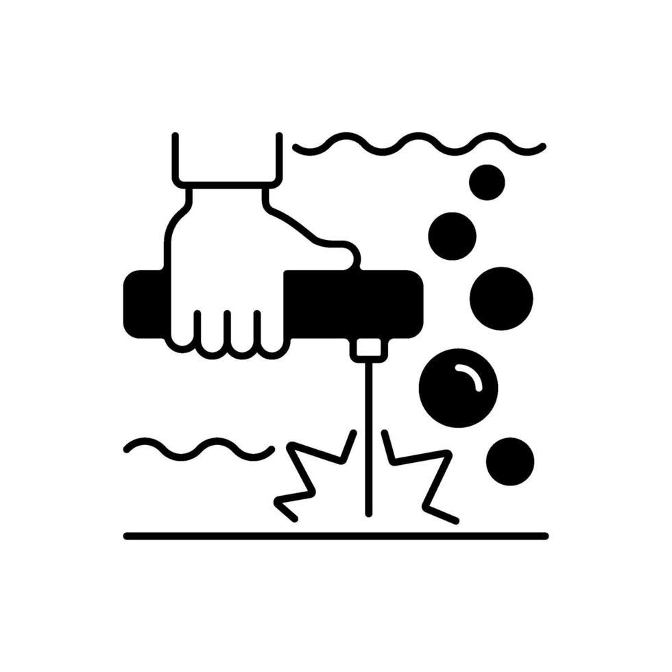 onderwater lassen zwarte lineaire pictogram vector