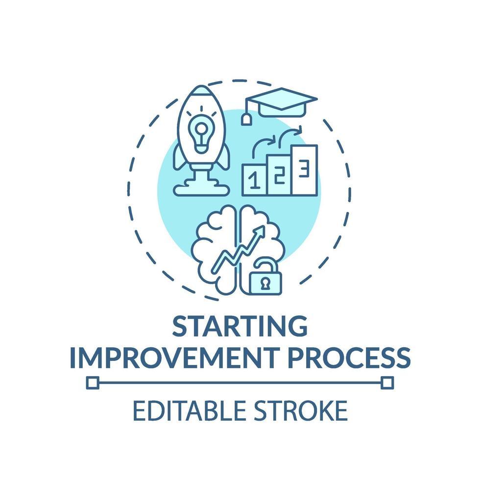 verbeteringsproces turkoois concept pictogram starten vector