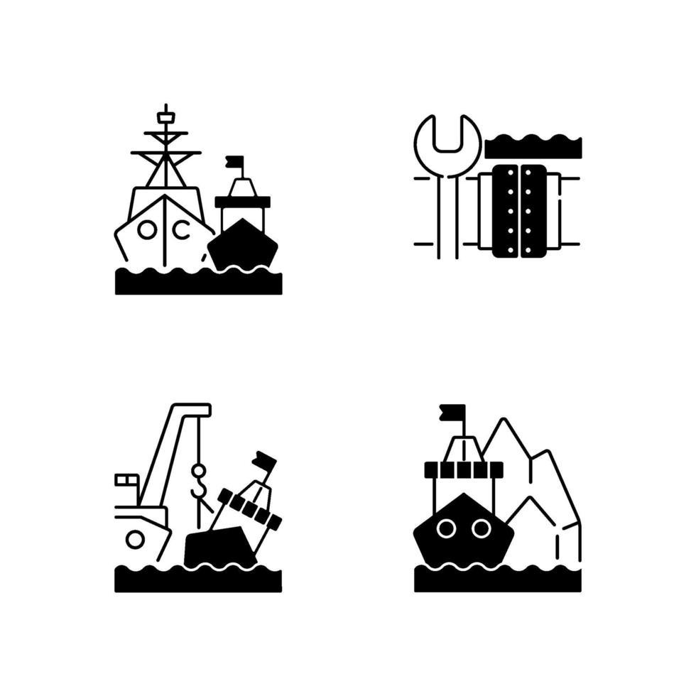 maritieme structuren en regelgeving zwarte lineaire pictogrammen instellen vector