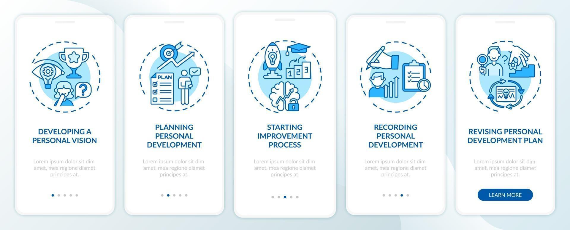 persoonlijke ontwikkelingsstappen blauw onboarding mobiele app-paginascherm met concepten vector