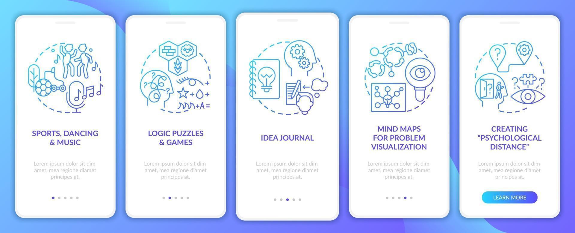 het verbeteren van probleemoplossende vaardigheidstips navy onboarding mobiele app-paginascherm met concepten vector