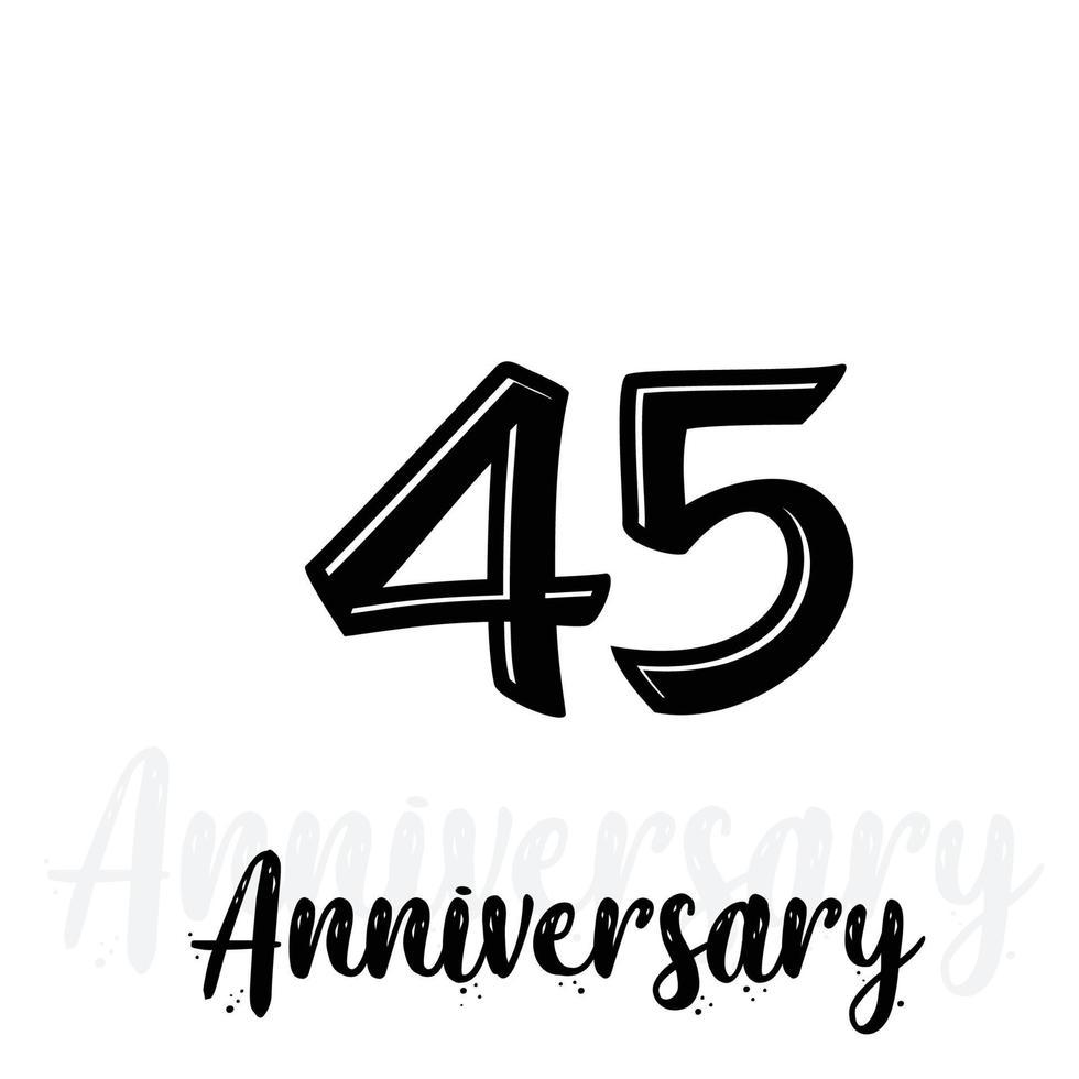 45 jaar verjaardag viering vector sjabloon ontwerp illustratie
