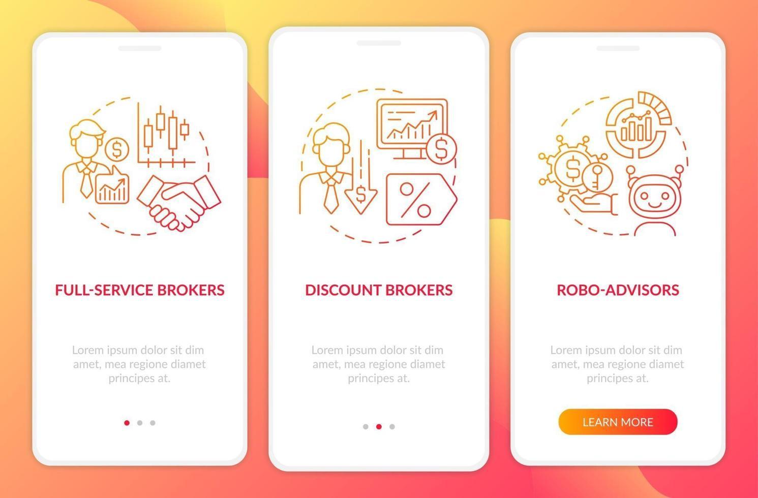professionele handelaren onboarding mobiele app-paginascherm met concepten vector