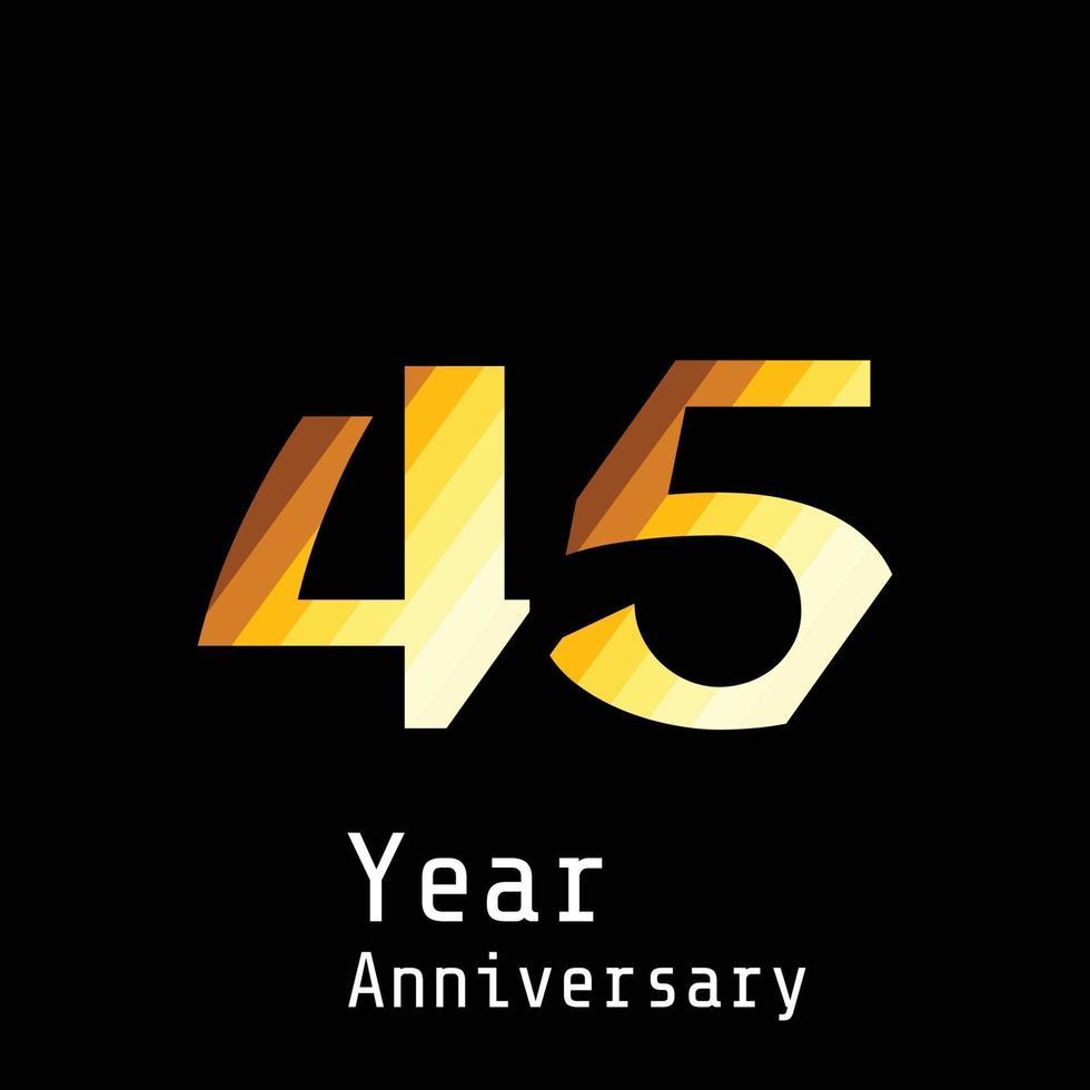 45 jaar verjaardag viering goud zwarte achtergrond kleur vector sjabloon ontwerp illustratie