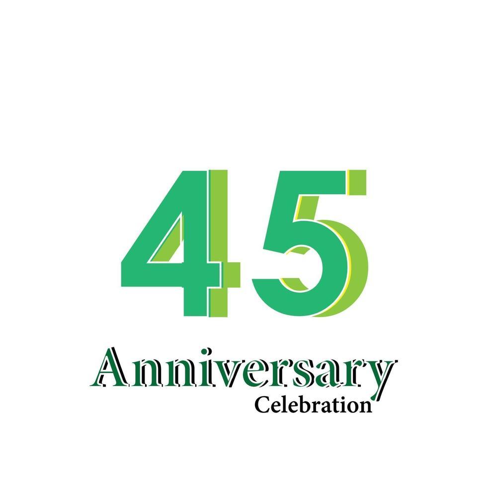 45 jaar verjaardag viering groene kleur vector sjabloon ontwerp illustratie