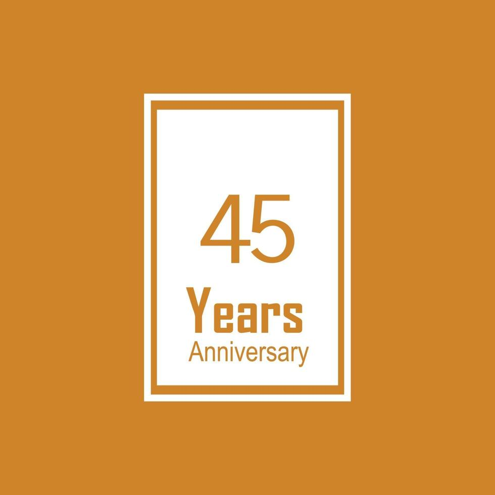 45 jaar verjaardag viering kleur vector sjabloon ontwerp illustratie
