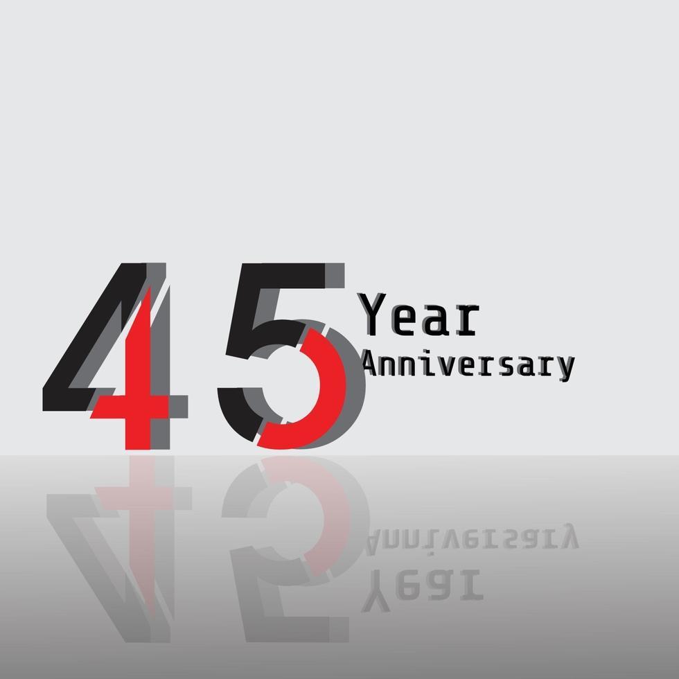 45 jaar verjaardag viering rode kleur vector sjabloon ontwerp illustratie