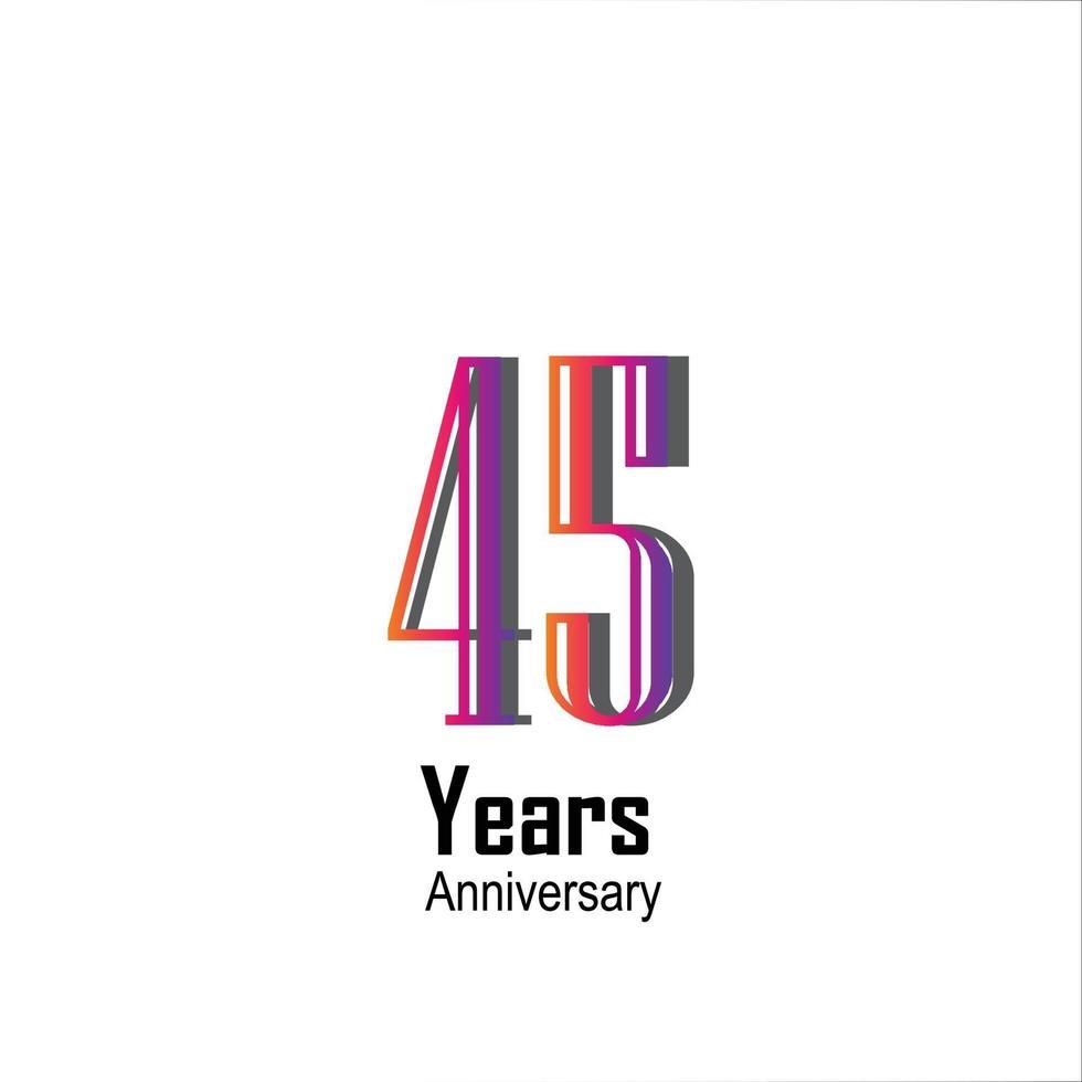 45 jaar verjaardag viering regenboog kleur vector sjabloon ontwerp illustratie