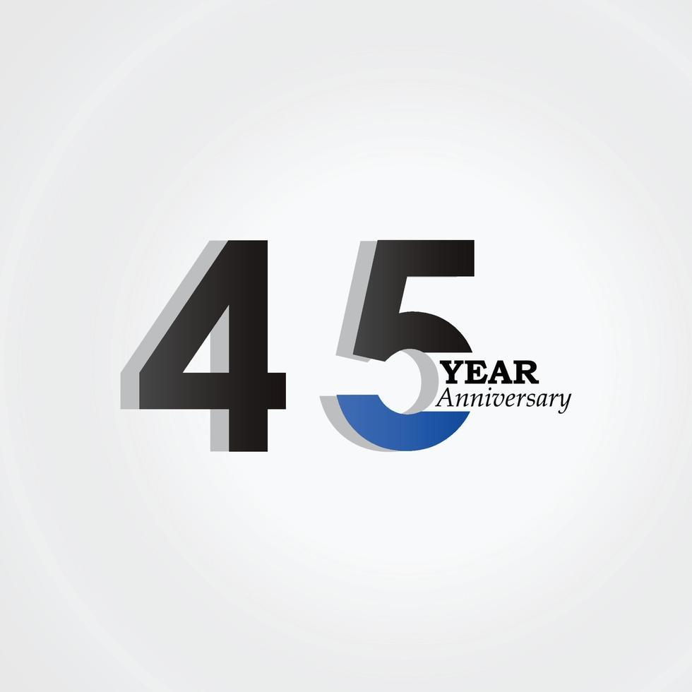 45 jaar verjaardag viering blauwe kleur vector sjabloon ontwerp illustratie