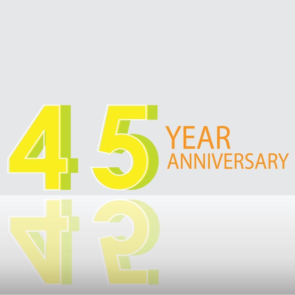 45 jaar verjaardag viering gele kleur vector sjabloon ontwerp illustratie