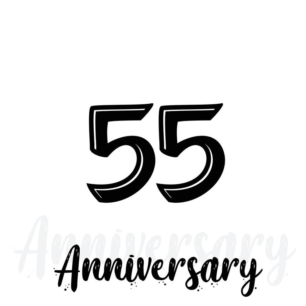 55 jaar verjaardag viering vector sjabloon ontwerp illustratie