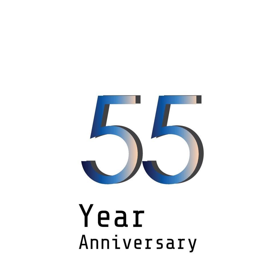 55 jaar verjaardag viering blauwe kleur vector sjabloon ontwerp illustratie