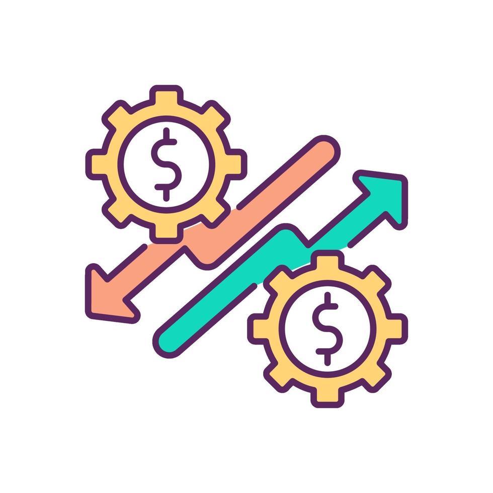 economische opleving en neergang RGB-kleur pictogram vector