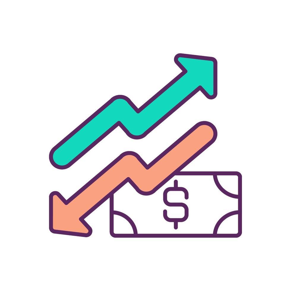 valuta stijgen en dalen RGB-kleur pictogram vector