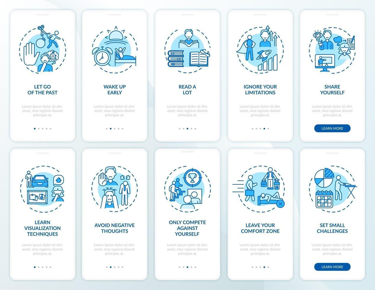 zelfontwikkeltips blauw onboarding mobiele app-paginascherm met concepten ingesteld vector