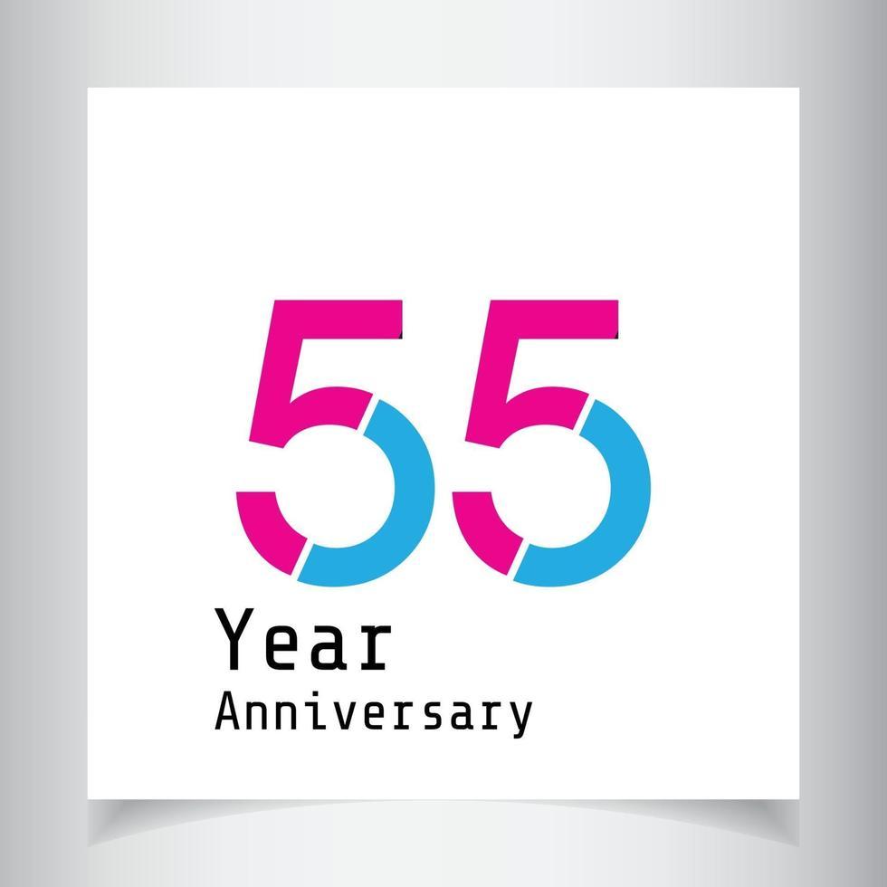 55 jaar verjaardag viering kleur vector sjabloon ontwerp illustratie