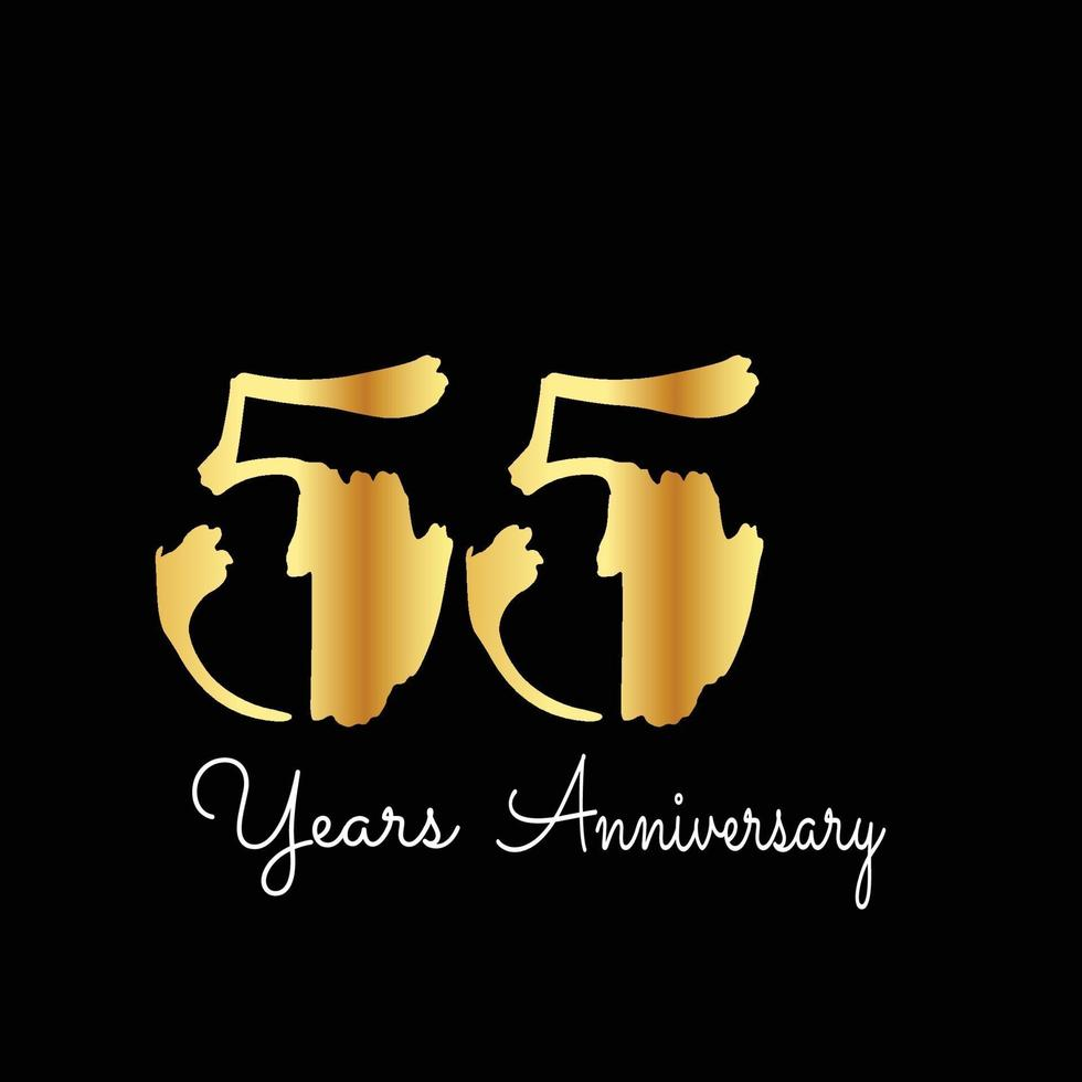 55 jaar verjaardag viering goud zwarte kleur achtergrond vector sjabloon ontwerp illustratie