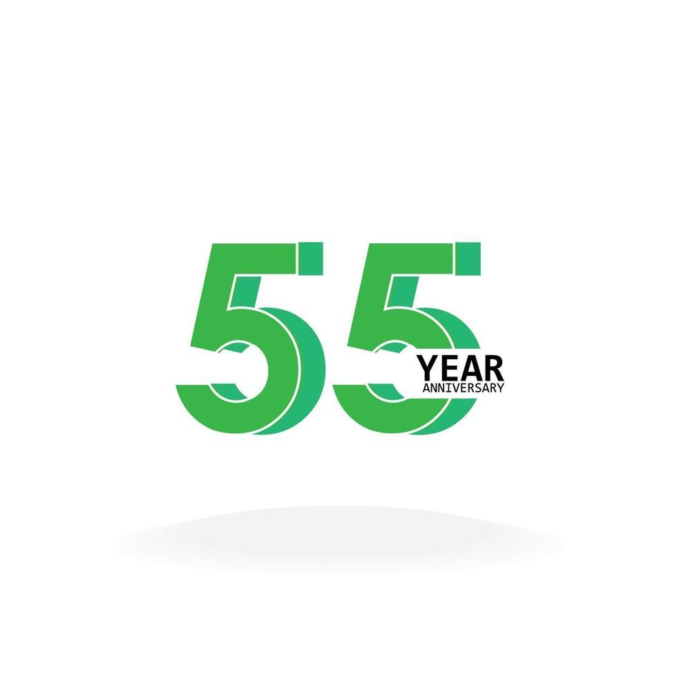 55 jaar verjaardag viering groene kleur vector sjabloon ontwerp illustratie