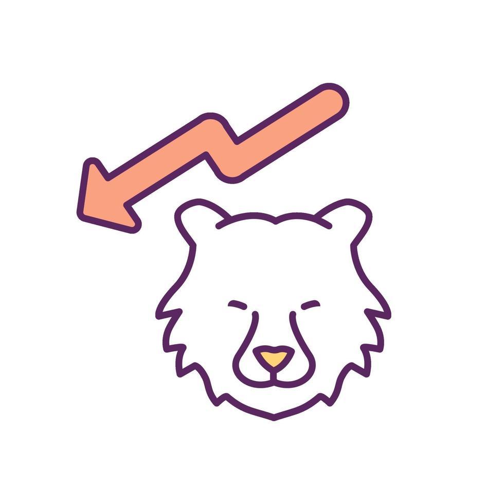 Bear Market RGB-kleur pictogram vector
