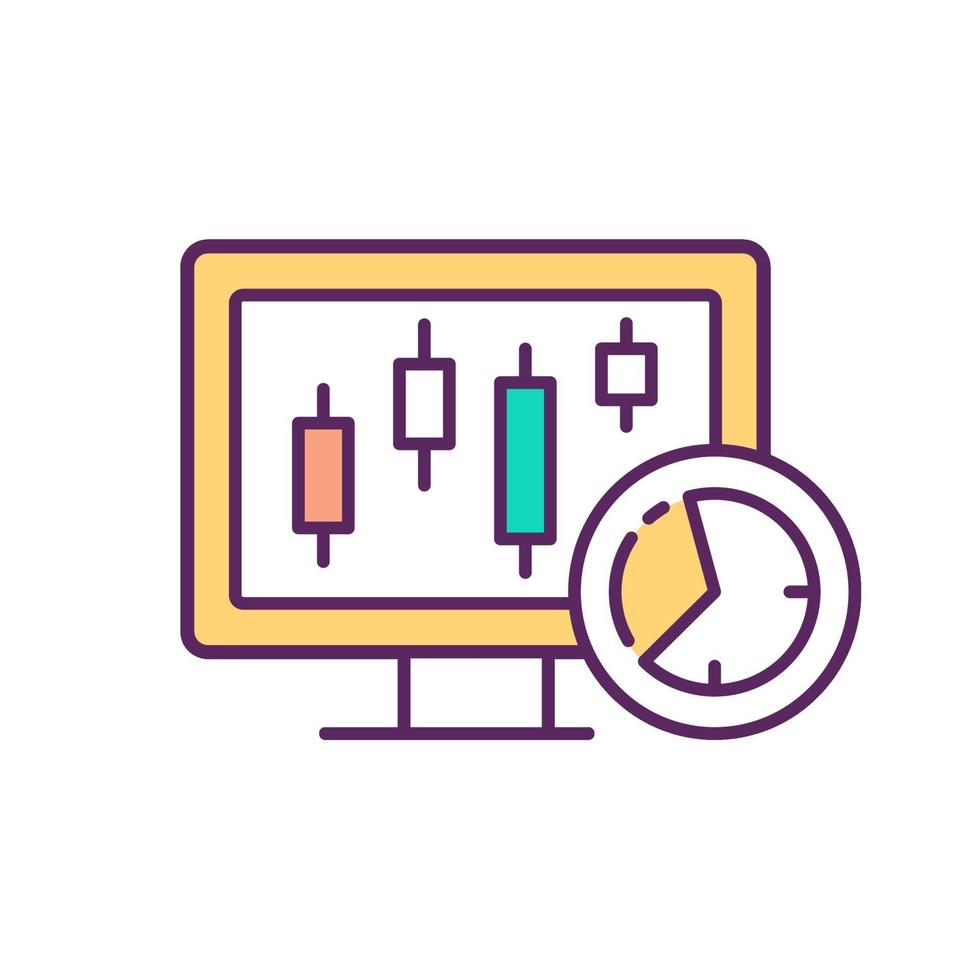 Intraday trading RGB-kleur pictogram vector