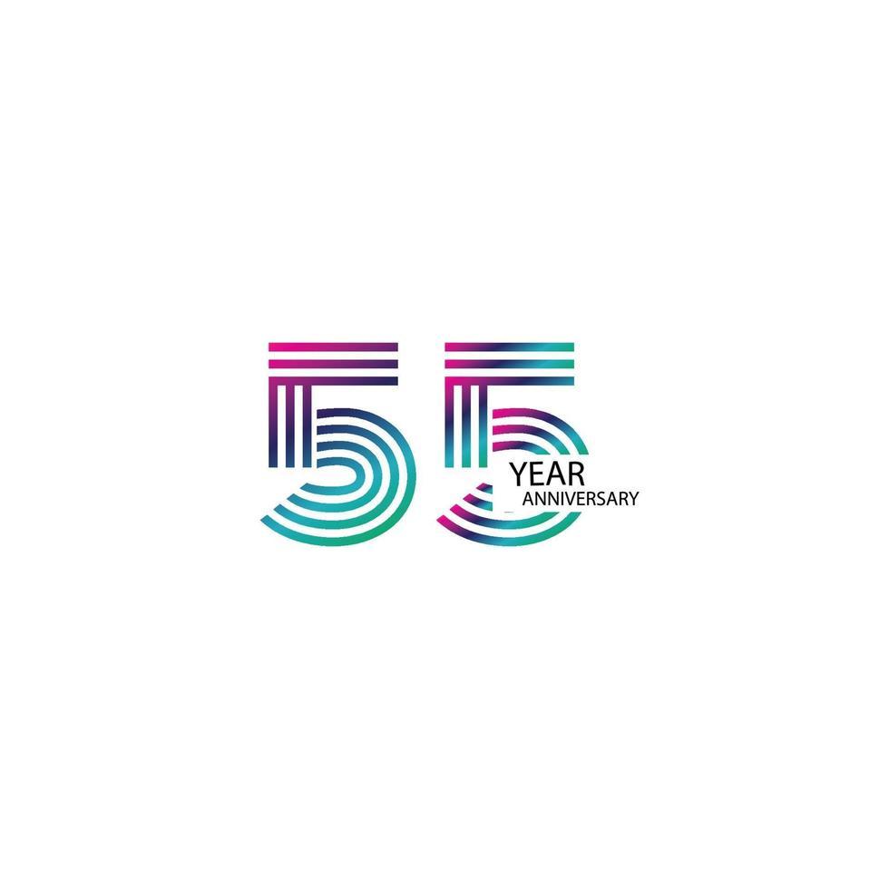 55 jaar verjaardag viering regenboog kleur vector sjabloon ontwerp illustratie