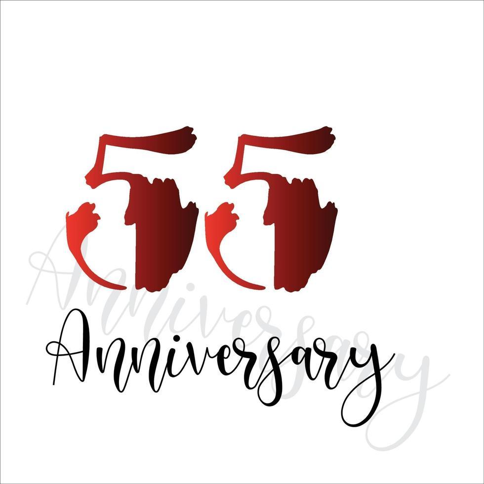 55 jaar verjaardag viering rode kleur vector sjabloon ontwerp illustratie