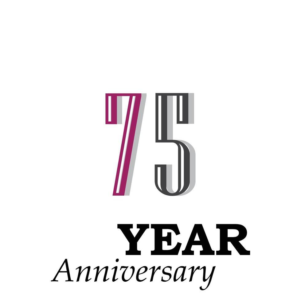 75 jaar jubileum rode kleur vector sjabloon ontwerp illustratie
