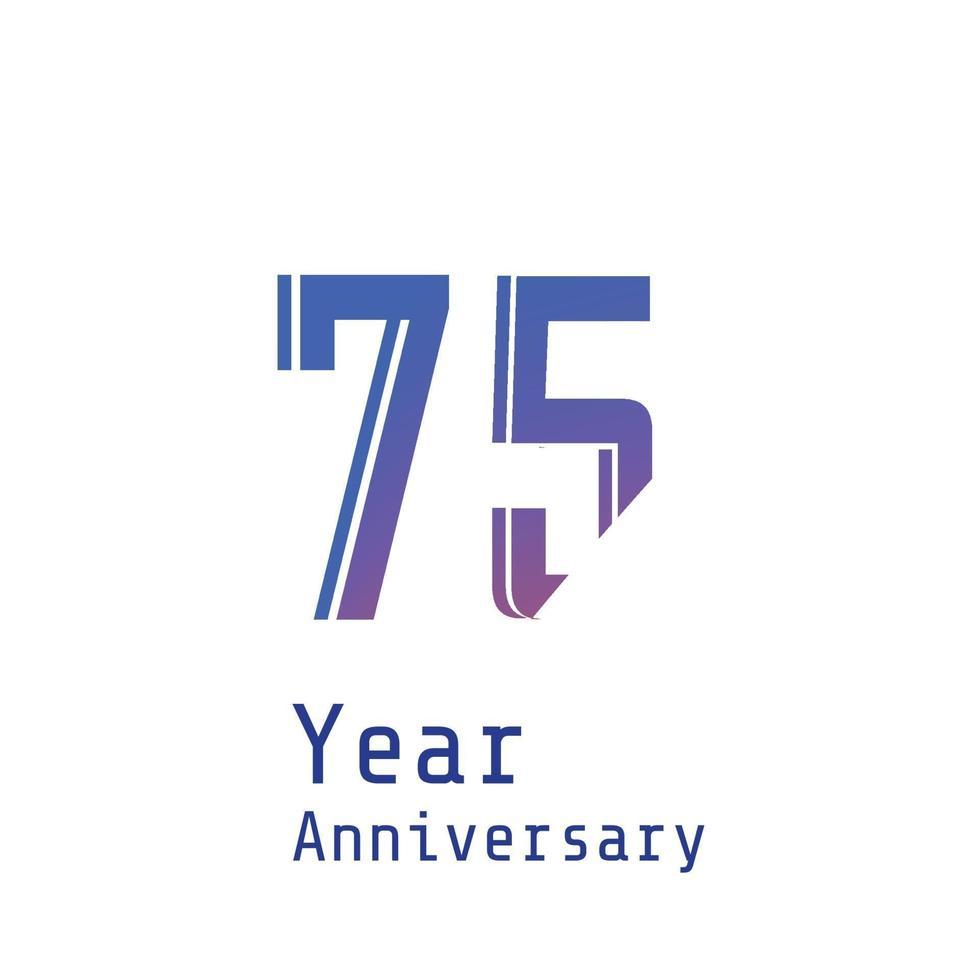 75 jaar verjaardag viering blauwe kleur vector sjabloon ontwerp illustratie