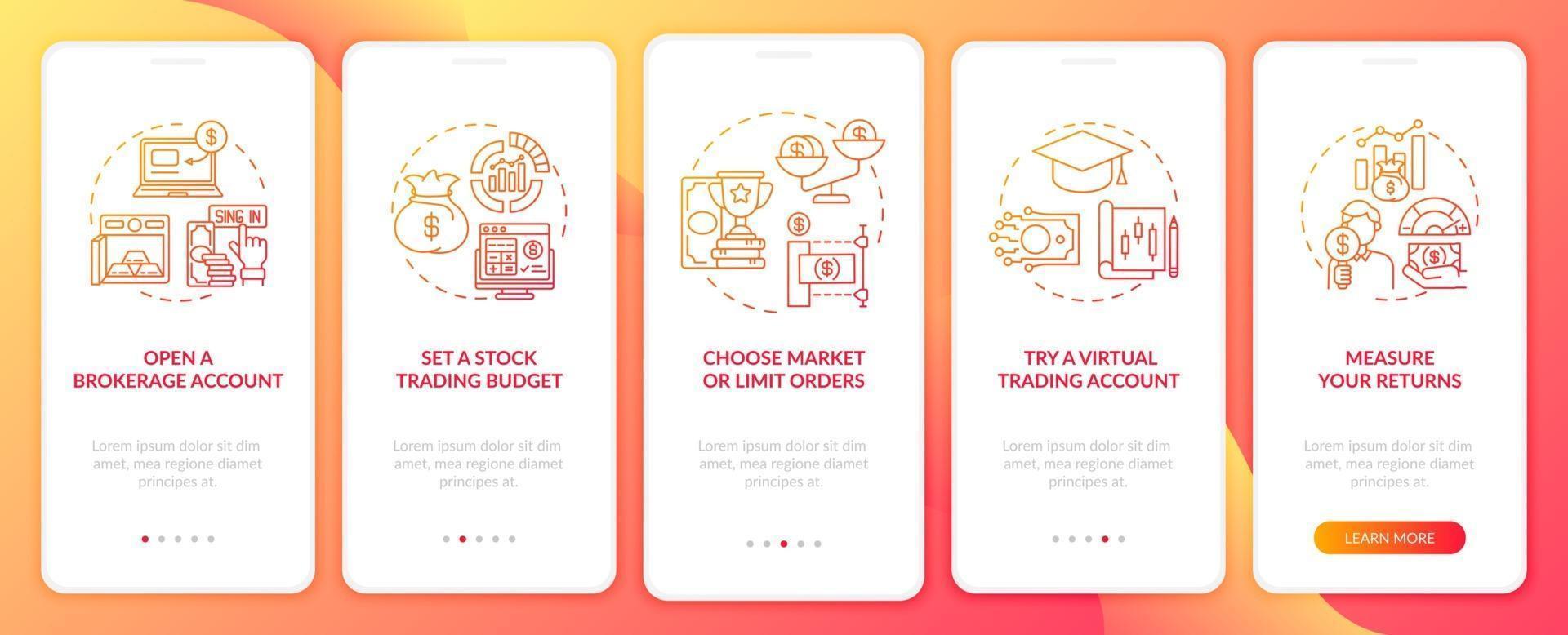 handelsstappen onboarding mobiele app-paginascherm met concepten vector