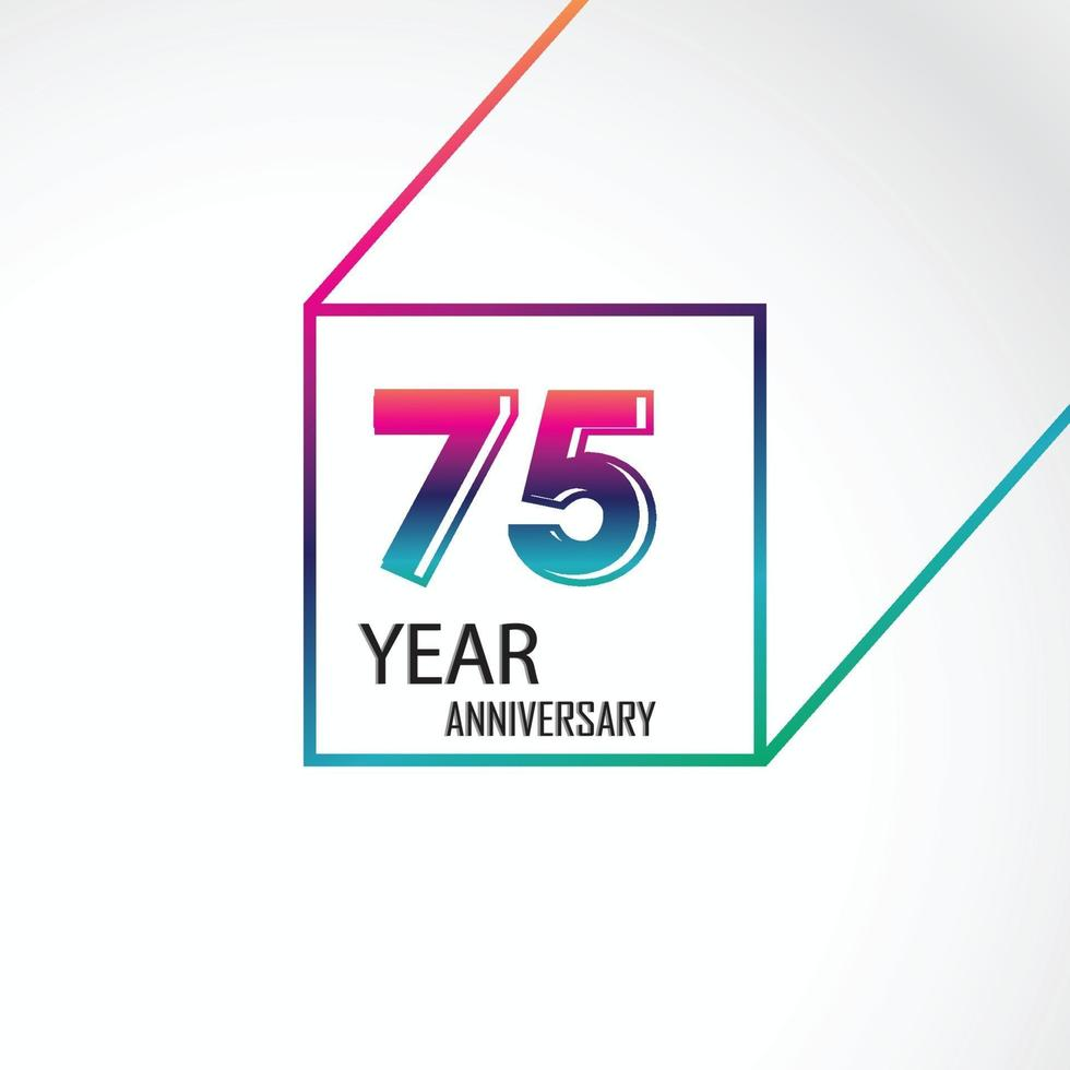 75 jaar verjaardag viering regenboog kleur vector sjabloon ontwerp illustratie