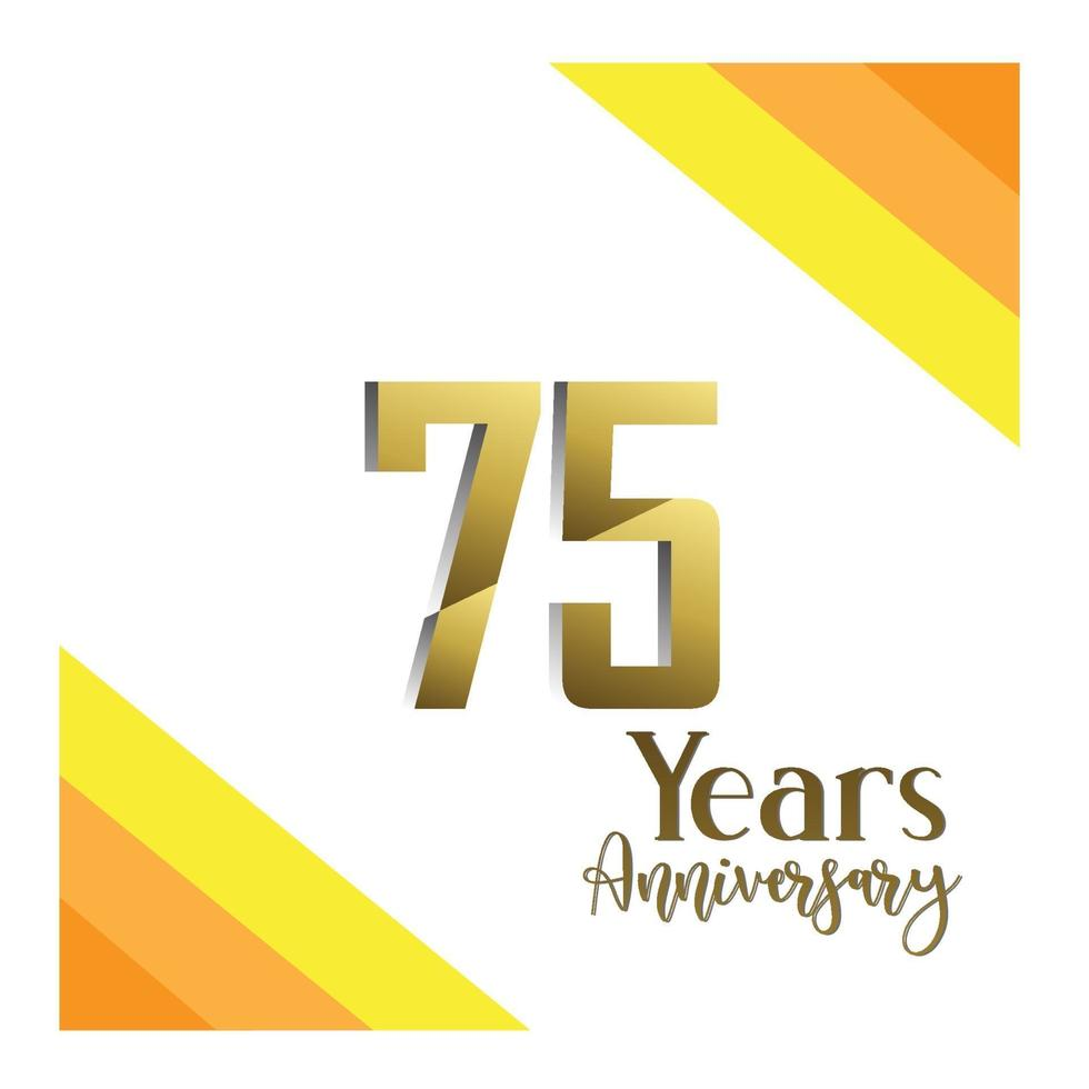 75 jaar jubileum viering goud witte achtergrond kleur vector sjabloon ontwerp illustratie