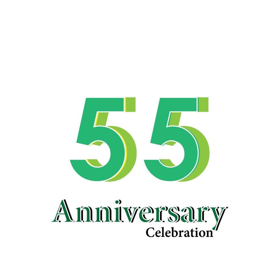 55 jaar jubileum groene kleur vector sjabloon ontwerp illustratie