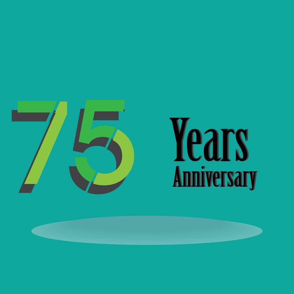 75 jaar jubileum groene kleur vector sjabloon ontwerp illustratie