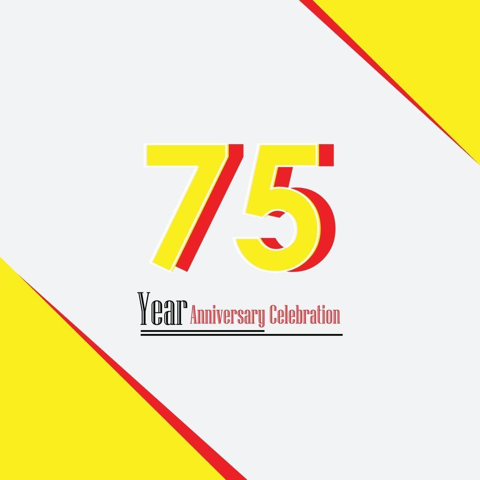 75 jaar jubileum gele kleur vector sjabloon ontwerp illustratie