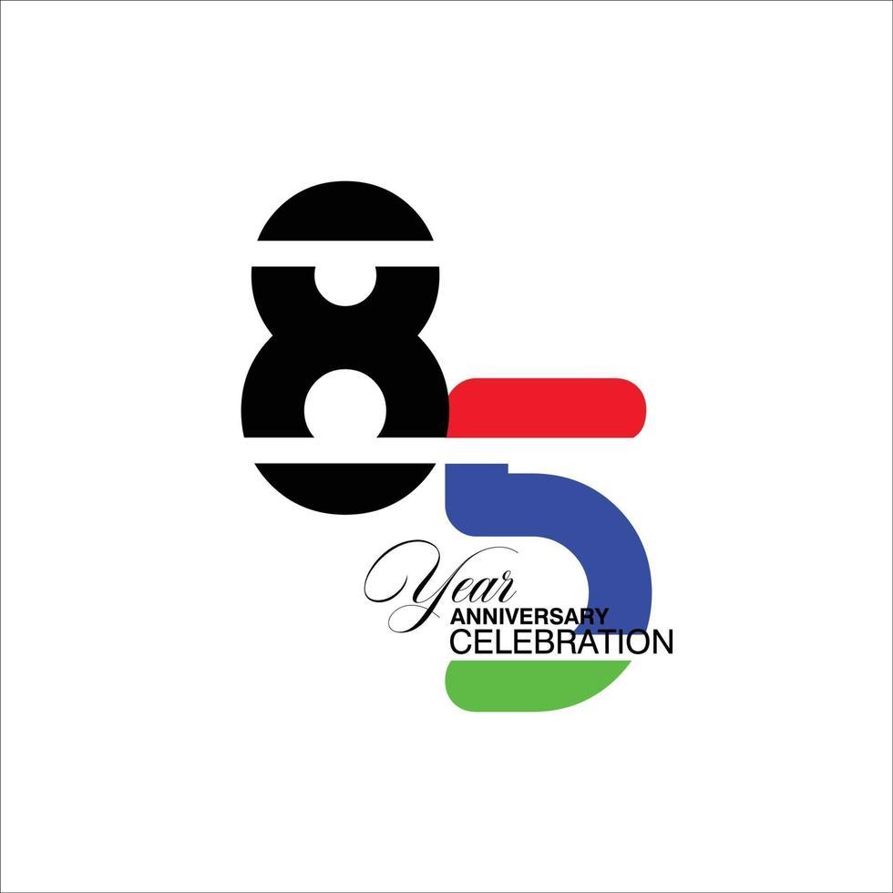85 jaar verjaardag viering blauwe kleur vector sjabloon ontwerp illustratie