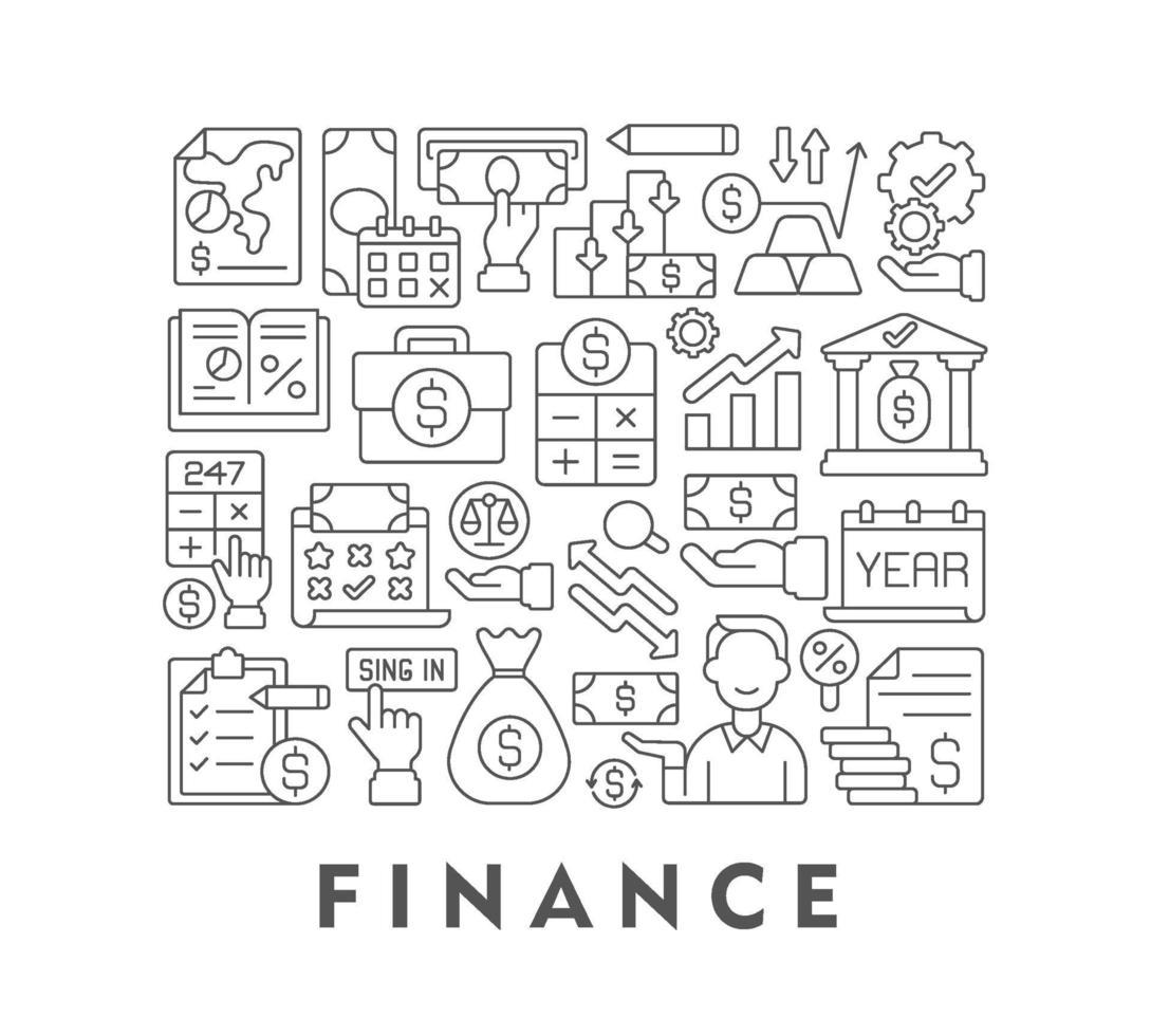 financieren abstracte lineaire conceptlay-out met kop vector