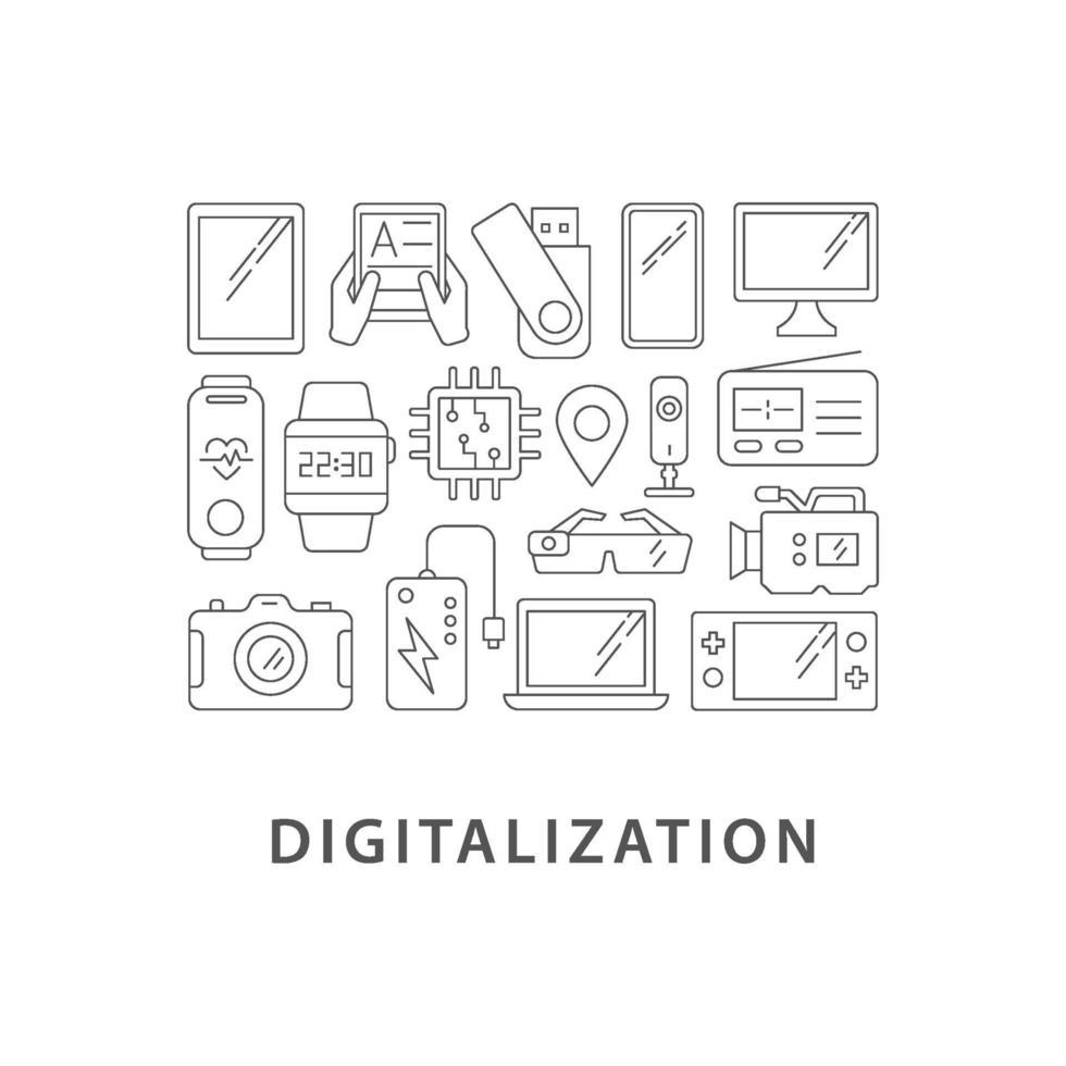 digitalisering abstracte lineaire conceptlay-out met kop vector