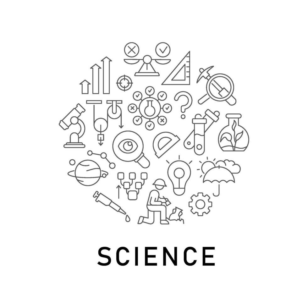 wetenschap abstracte lineaire conceptlay-out met kop vector