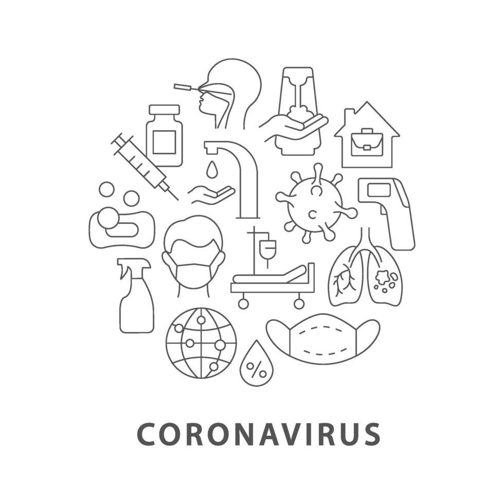 coronavirus abstracte lineaire conceptlay-out met kop vector